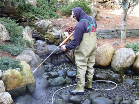 Winter pond maintenance fish koi goldfish care rochester for Koi pond maintenance service