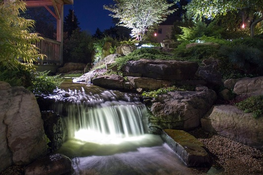 Water garden & LED water feature lighting design service in Rochester  New York (NY) by certified contractors - Acorn Ponds & Waterfalls.