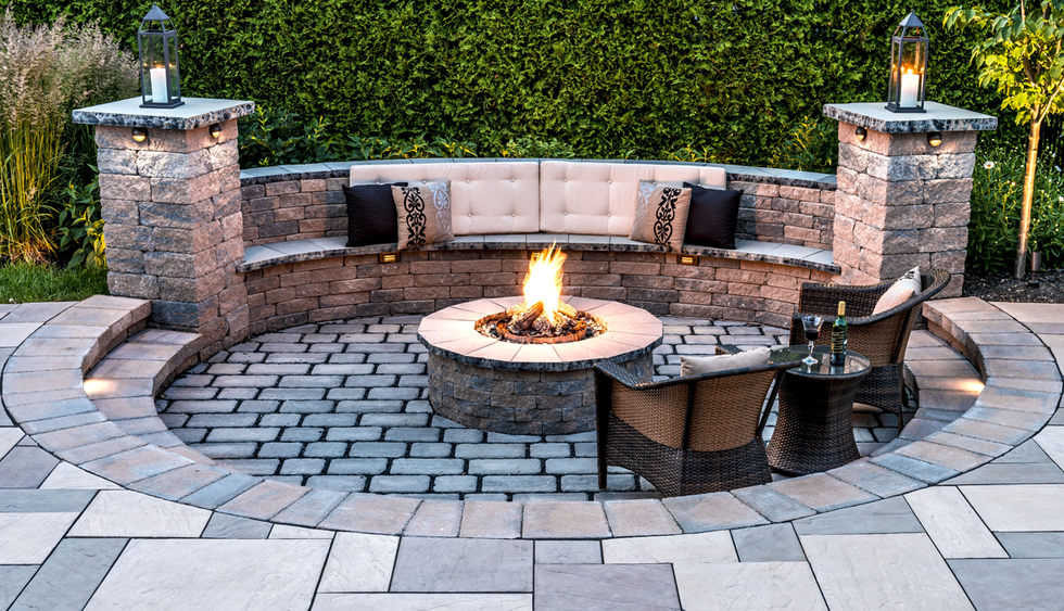 Fire pits (fire-pits) & outdoor living area ideas for small backyards in Rochester New York (NY) -  Acorn Ponds & Waterfalls