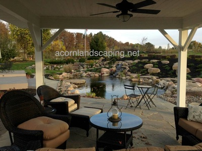 Bluestone patio, natural slate installed in Rochester New York by Acorn Ponds & Waterfalls