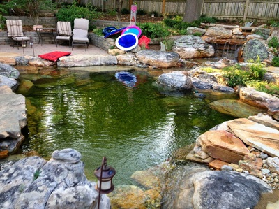 LED pond lighting services by Acorn Ponds & Waterfalls of Rochester NY