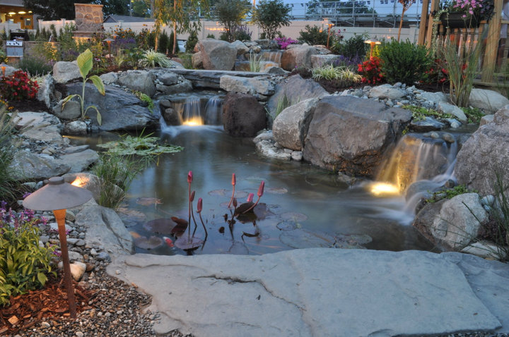 LED pond lighting by Acorn Ponds & Waterfalls of Rochester NY