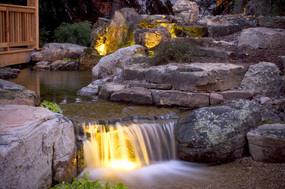 LED Pond Lighting & Landscape Lighting Services In Rochester NY By Acorn Ponds & Waterfalls. LED Underwater Lighting Image
