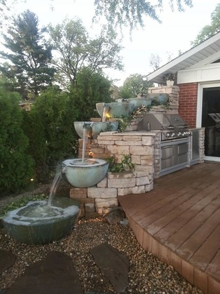 Water Features For Decks & Patios With Built In BBQ