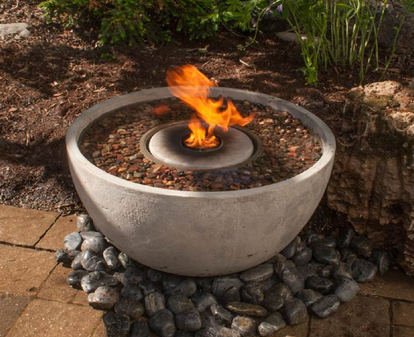 Container Water Gardens with FIRE Features in Rochester, NY - Contact Acorn Ponds & Waterfalls to have it professionally installed by a certified pond contractor