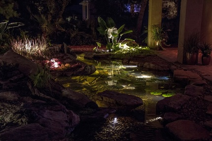 LED fountain & water feature lighting installation services in Rochester New York (NY) by certified water feature contractors - Acorn Ponds & Waterfalls.