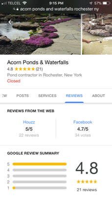 Pond Contractor Rochester NY Google Reviews - Acorn Ponds & Waterfalls