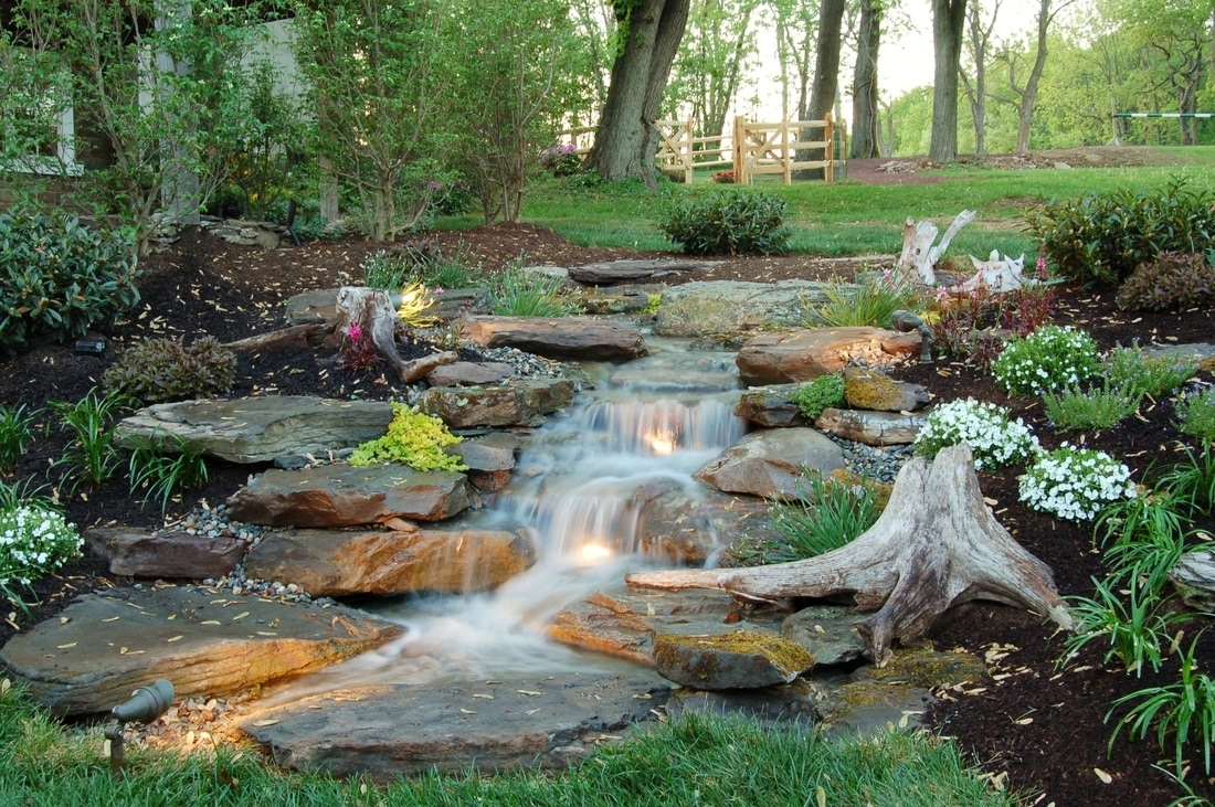 Pondless waterfalls landscape ideas outdoor rooms for Pool design rochester ny